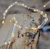 Lumière féerique blanche chaude de chaîne de caractères de cascade à écriture ligne par ligne du micro DEL de fil argenté léger extérieur