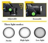 Faro brillante estupendo de los modos LED de Zoomable 3 con las baterías recargables