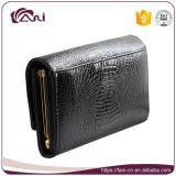 Бумажник рамки металла неподдельной кожи черной элегантности цвета тонкий