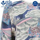 Runde Muffen-lange Hülsen-loses Form-Dame-Kleid mit abstraktem Drucken