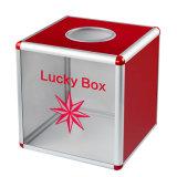 """"""" caixa afortunada acrílica do tamanho 12 médio com lados de alumínio"""