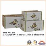 Деревянная античная коробка подарка коробки хранения чемодана с птицей Partten