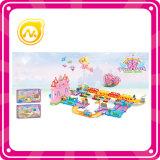 Het hete Verkopende Kasteel van de Prinses met het Lichte Vastgestelde Stuk speelgoed van het Spel van de Blokken van het Spoor van de Trein