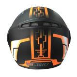 ヘルメットの上の二重バイザーフリップ