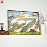 Печать холстины сельской местности шаржа изображения стены горы снежка