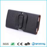 Caisse universelle de poche de clip ceinture en cuir horizontal pour le téléphone mobile