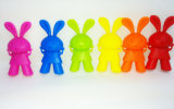 Cortar el sostenedor adorable de los palillos del silicón del diseño del conejo para el aprendizaje de los cabritos