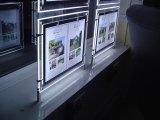 Caixa leve magro do diodo emissor de luz do frame de cristal do poster para o mediador imobiliário que anuncia o quadro de avisos