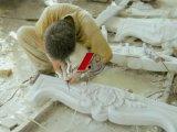 Mensola del camino di marmo del camino con Nizza le sculture nello stile europeo