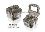 La caja de joyería de cuero clásico de la PU del estilo del lagarto