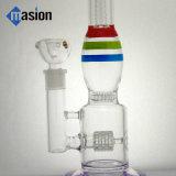 Tubo de agua que fuma de cristal con la raya del color (POR 006)