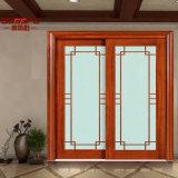 Porte en bois coulissante en verre d'entrée de cuisine (GSP3-010)