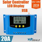 20A zonneLCD van de Last van het Controlemechanisme USB van de Regelgever 12V 24V Vertoning PWM voor Batterijen