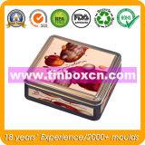 Квадратный контейнер еды металла для печенья шоколада, жестяной коробки еды