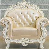 Sofa en cuir classique avec le Tableau en bois pour des meubles de salle de séjour