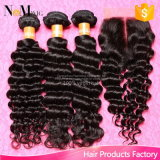 Cabelo peruano Curly italiano do Virgin com fechamento