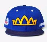 Sombrero del casquillo del Snapback del azul de marina con el bordado 3D