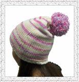 De Hoed van Beanie van dame Fleece Knitted met het Patroon van Strepen (1-3474)