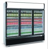 Refrigerador vertical con bisagras de cierre automático de la visualización de 3 puertas de cristal