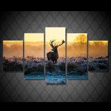 [هد] طبع إفريقيّة غروب أيّل مجموعة [بينتينغ كنفس] [برينت رووم] زخرفة طبلة ملصقة صورة نوع خيش [مك-096]