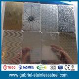 201 décoratifs ont gravé la feuille en relief de plaque d'acier inoxydable