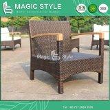 Sofá de vime do sofá do sofá ajustado de madeira do pátio do sofá do braço ajustado com Teak (estilo mágico)