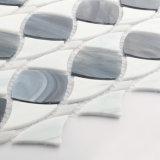 La glace de mosaïque blanche de Backplash de mode de DIY couvre de tuiles des feuilles pour le souterrain