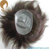 Ультра тонкое Toupee человеческих волос Skin0.03mm v закрепленный петлеть для людей