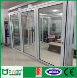 Porte en verre isolante de Bifolding avec le bâti d'aluminium de 2.0mm