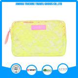 レース装飾的な袋袋が付いている黄色いカラー透過PVC