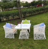 Tableau et présidence simples de rotin de PE de café de terrasse extérieure moderne de jardin