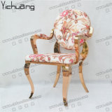 Ycx- Ss35 2륜 경마차 대중음식점 로즈 금 팔걸이를 가진 호화스러운 연회 의자