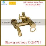 Corpo ajustado do chuveiro dourado do banheiro