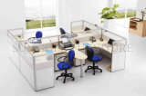Wooden Finished에 있는 Office Cubicle 4 Seat Workstation를 여십시오