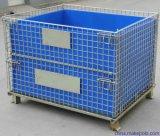 Cesta plegable del acoplamiento de alambre del envase de almacenaje de la jaula del almacenaje del acoplamiento de alambre con la hoja de los PP