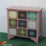 Gabinete de madeira antigo contínuo da gaveta dos botões de cristal cor-de-rosa do decalque