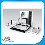 Luxuxform-hölzerne Schmucksache-Uhr-acrylsauerbildschirmanzeige mit Metallc$c-ringen