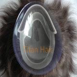 Mono unità di elaborazione di seta della base intorno al Toupee degli uomini dei capelli umani di Remy