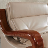 Wooden Arm (909#)를 가진 새로운 Design Genuine Leather Sofa