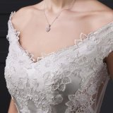 Mermaid Cap Sleeve V-Neck Appliques Wedding Dress (SL-012)