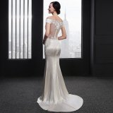 V-Шея втулки крышки Mermaid Appliques платье венчания (SL-012)