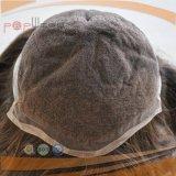 Toupee atado mano completa del pedazo del pelo del color de Nutural Brown del pelo humano del cordón del frente posterior de la PU