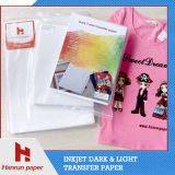 Papier de transfert foncé de jet d'encre d'impression de T-shirt de découpage facile pour la presse de la chaleur de T-shirt