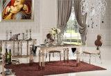 金張りデザイン正方形のガラスダイニングテーブル