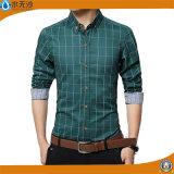 2017のばねの人のワイシャツの長い袖の綿によって印刷されるワイシャツ