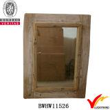 Gros miroir mural rectangulaire enroulé en bois