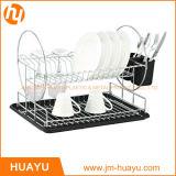 шкаф тарелки хромовой стали 2-Tier с Drainboard и чашкой Cutlery (чернота)