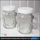 Vaso di muratore di vetro del vaso della bevanda con il coperchio e la paglia