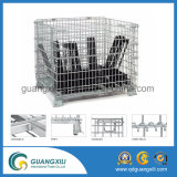Recipiente Stackable rígido Waste galvanizado de engranzamento de fio da carga do metal com 4 rodas