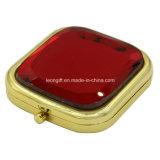 Espejo rojo redondo de lujo del maquillaje del diamante